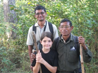 Louise, Krishna (back) and Landela - ace trackers.