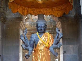 Cambodia used to be Hindu, some statues are still venerated. Here is Vishnu.