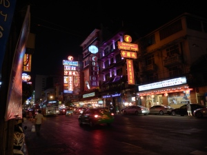 The bright lights of Bangkok; these are shark fin restaurants.