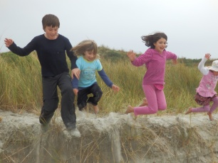 The children had great fun destroying the sand dunes - or jumping off them.