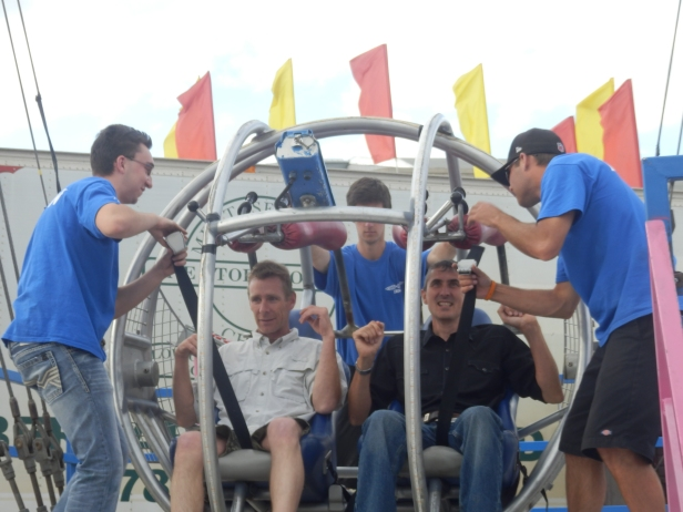 John and Chris about to be air bound in the slingshot